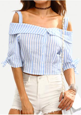 Striped Slash Neck Fashion Crop Top Without Necklace