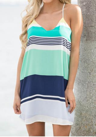 Color Block Mini Strap Dress