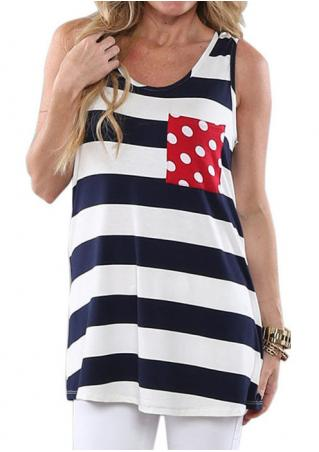 Striped Dot Pocket Bowknot Fashion Tank