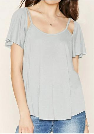 Solid Ruffled Sleeve Fashion T-Shirt Without Necklace
