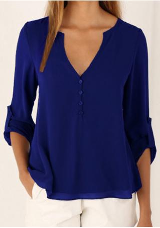 Solid Button Irregular Stylish Blouse