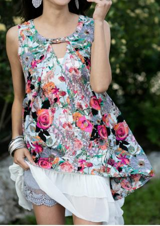 Floral Irregular Sleeveless Fashion Tank