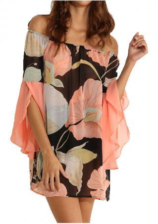 Floral Ruffled Slash Neck Mini Dress