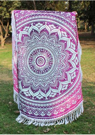 Mandala Printed Tassel Splicing Round Blanket
