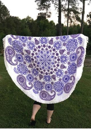 Paisley Printed Round Blanket