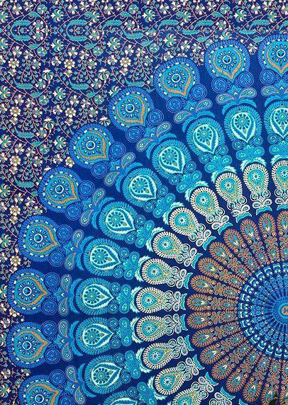 Mandala Peacock Rectangle Beach Blanket Fairyseason