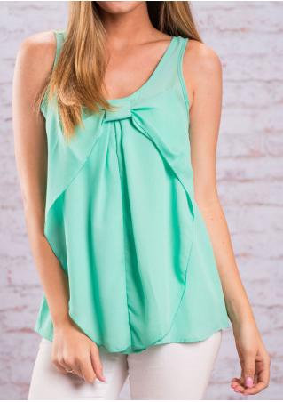 Solid Front Bowknot Fashion Tank