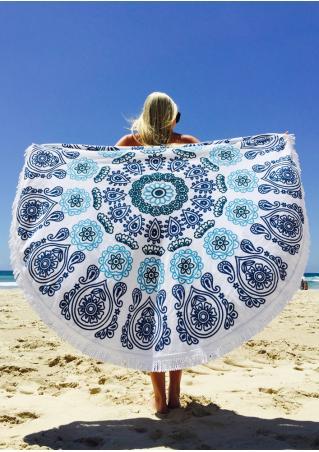 Paisley Printed Tassel Round Beach Blanket
