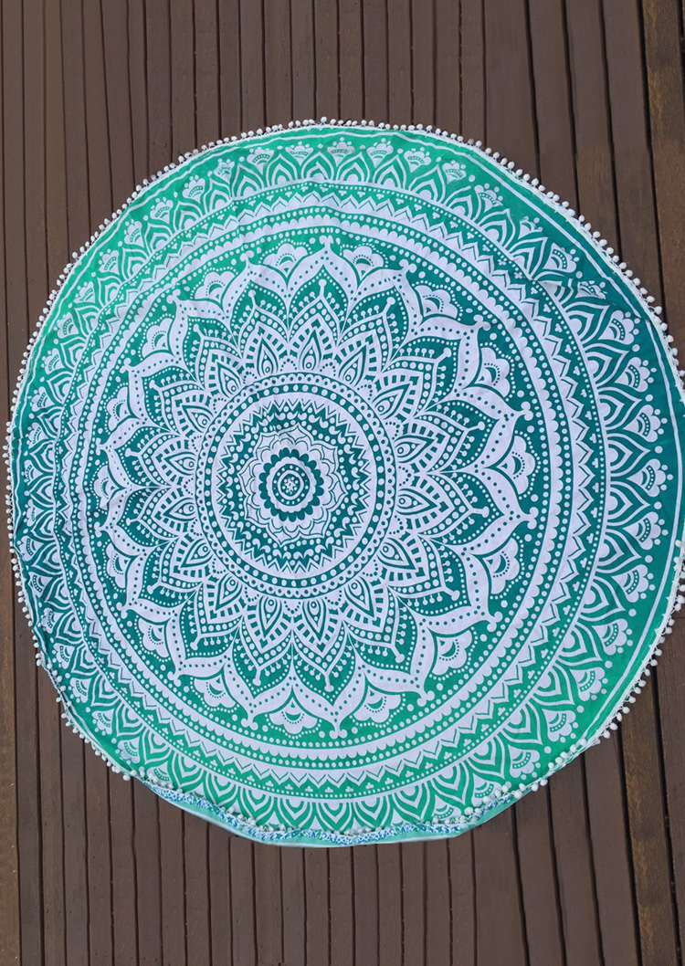 mandala pattern tassel round beach blanket fairyseason