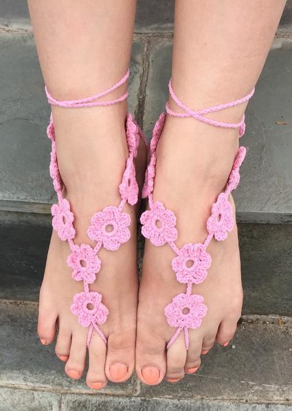 Image of Flower Crochet Trendy Barefoot Sandals
