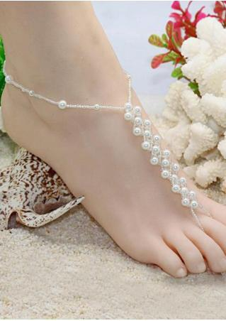 One Piece Imitation Pearl Trendy Barefoot Sandal