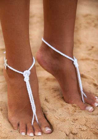 Rhinestone Starfish Cross Barefoot Sandals