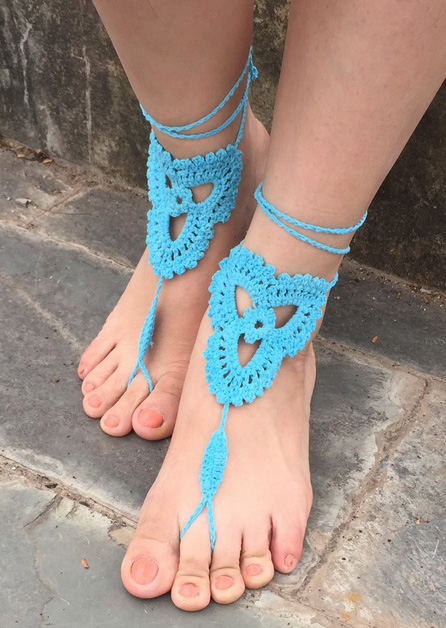 Image of Hollow Out Crochet Barefoot Sandals