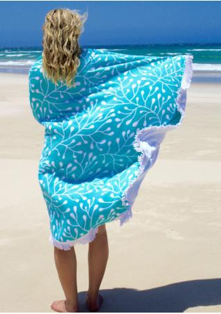 Leaf Printed Round Beach Blanket