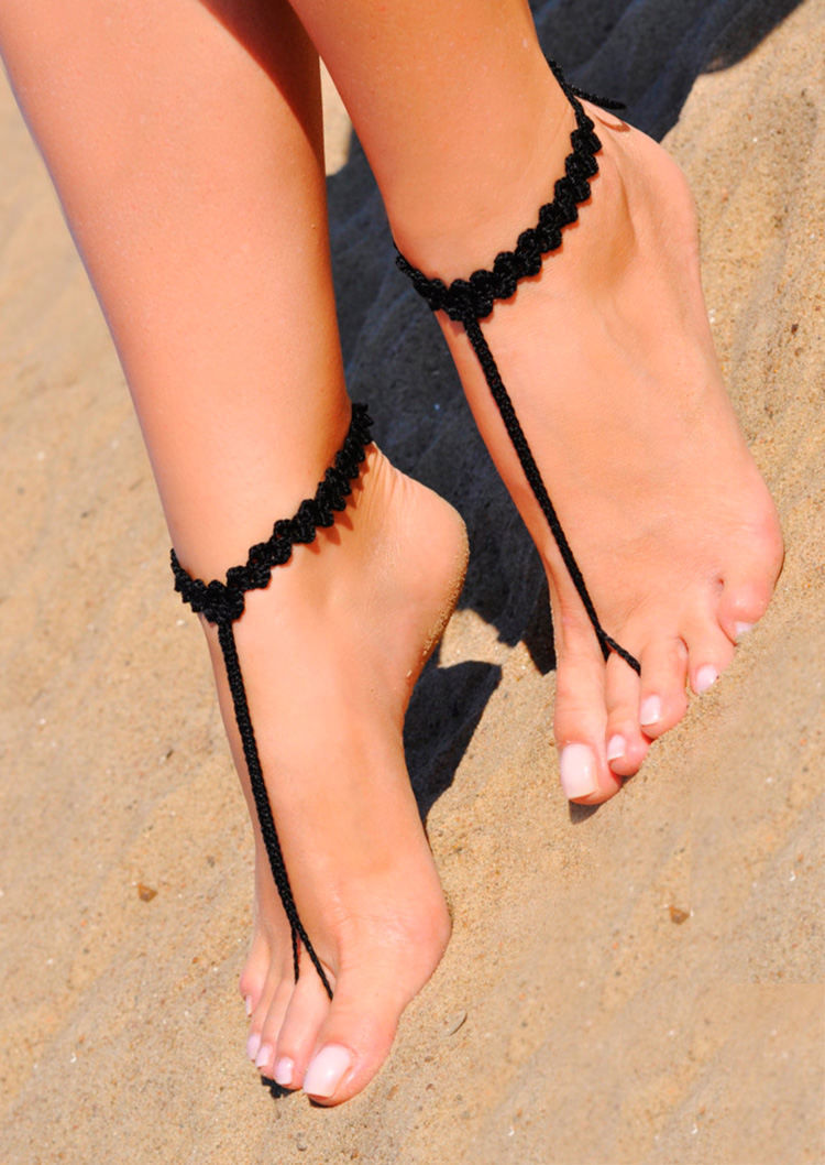 Image of Solid Crochet Barefoot Sandals