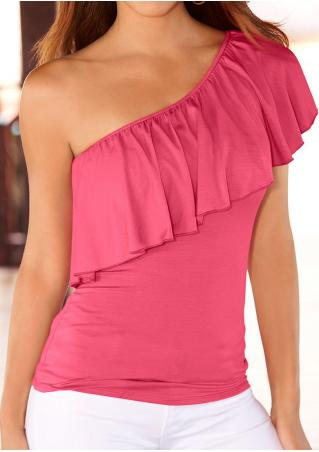 Solid Ruffled One-Shoulder Fashion Blouse