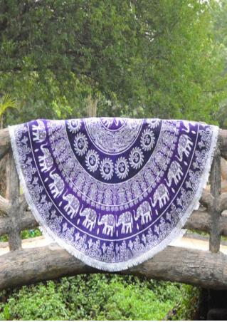 Mandala Elephant Tassel Round Blanket