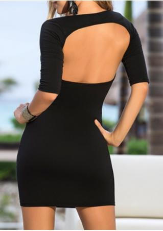 Solid Backless Sexy Bodycon Dress Solid