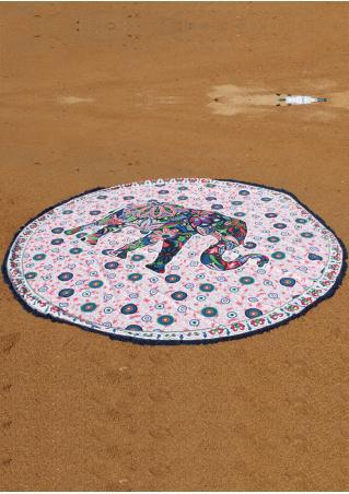 Mandala Elephant Pattern Round Blanket
