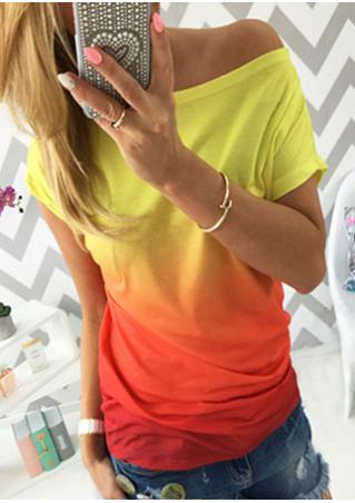 Gradient Color Printed Fashion T-Shirt