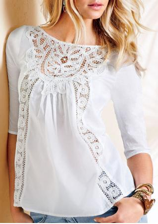 Solid Lace Hollow Out O-Neck Fashion Blouse
