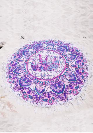 Mandala Elephant Round Beach Blanket