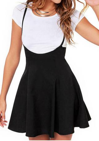 Solid Zipper Suspender Skirt Without Necklace Brandless