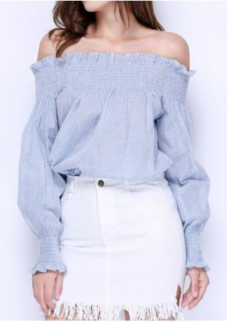 Striped Ruffled Slash Neck Fashion Blouse