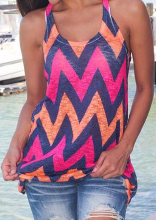Zigzag Printed Racerback Casual Tank Without Necklace