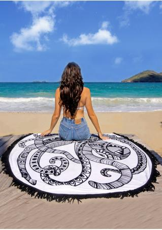 Octopus Printed Round Beach Blanket