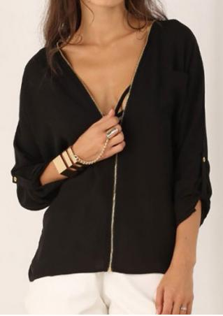 Solid Zipper V-Neck Fashion Blouse