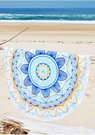 Multicolor Flower Round Beach Blanket Brandless