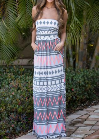 Geometric Zigzag Printed Maxi Strapless Dress