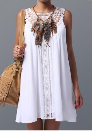 Solid Lace Splicing Mini Shift Dress Without Necklace