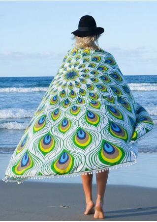 Mandala Peacock Feather Round Beach Blanket Brandless