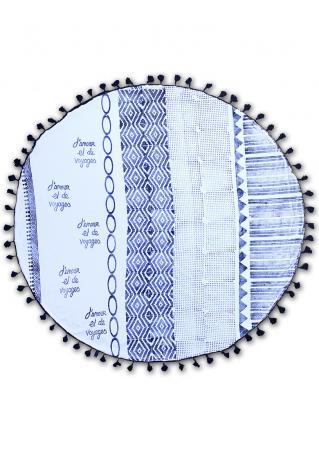Geometric Letter Round Blanket