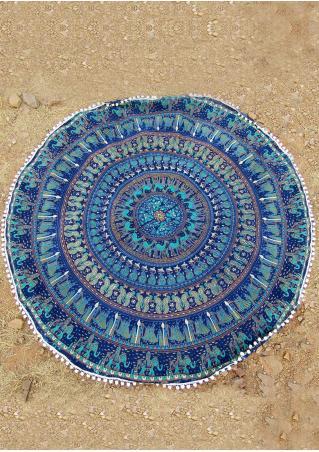 Mandala Elephant Round Blanket