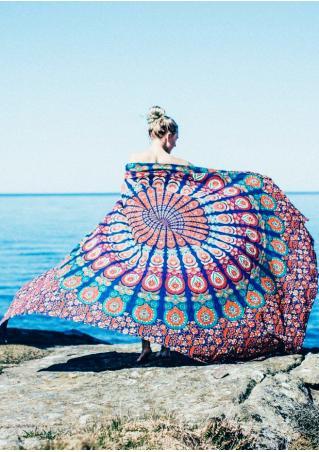 Mandala Peacock Floral Rectangle Beach Blanket Brandless