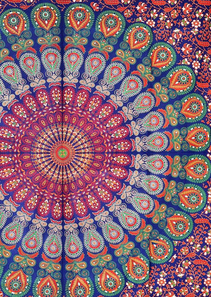 Mandala Peacock Floral Rectangle Beach Blanket Fairyseason
