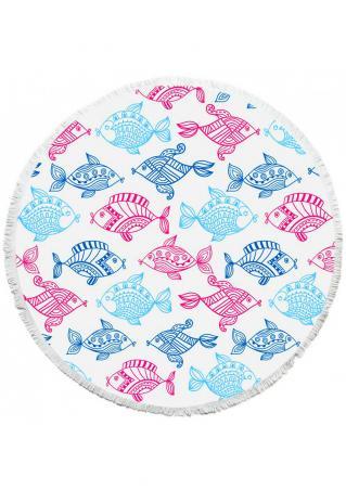 Fish Turtle Printed Round Blanket