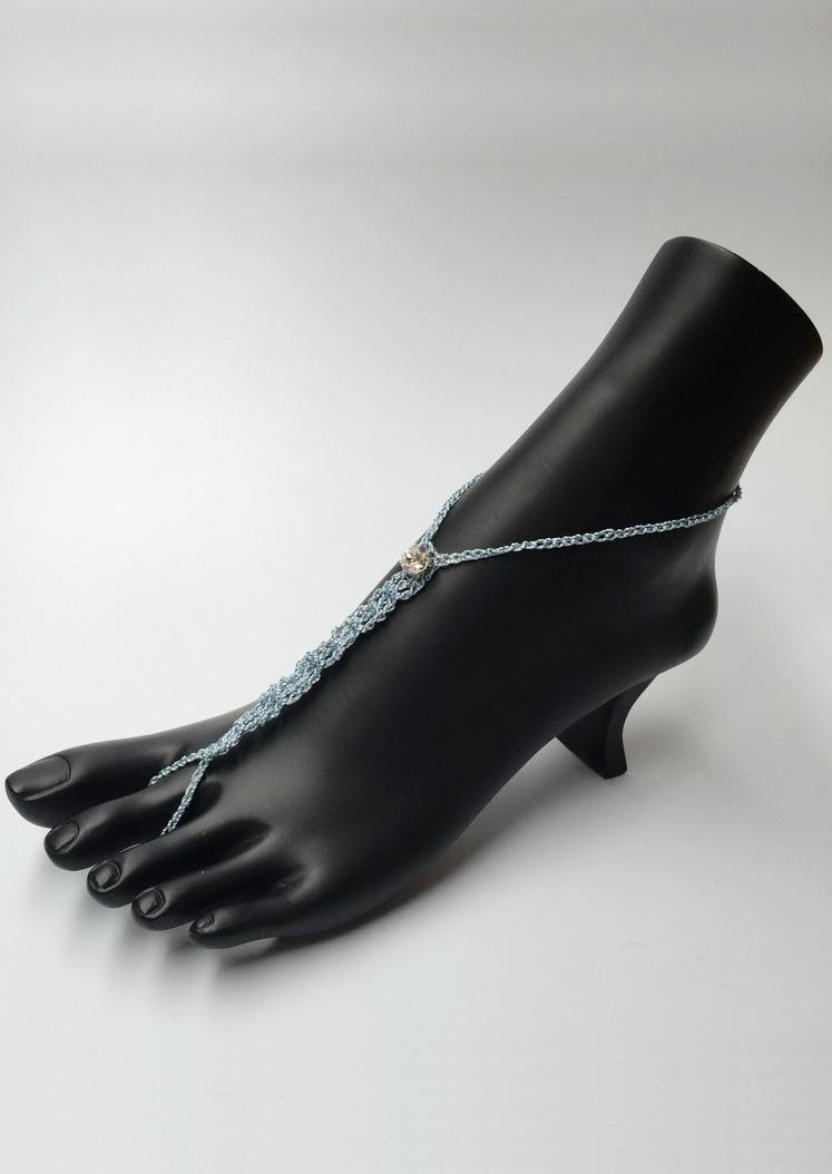 Rhinestone Braided Barefoot Sandals
