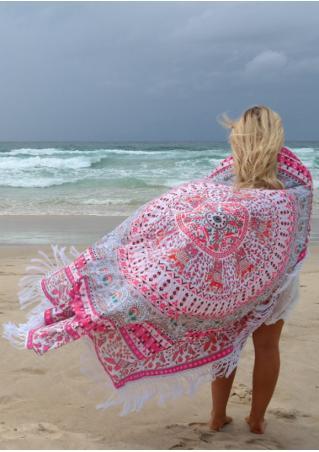 Mandala Bird Printed Round Beach Blanket