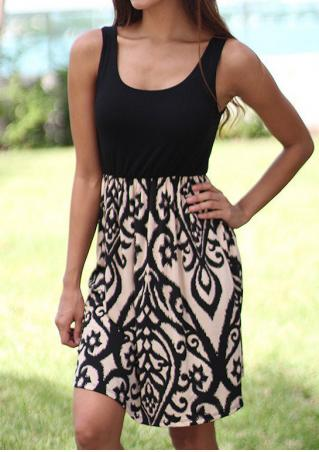Printed Sleeveless Fashion Mini Dress