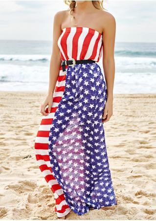 Flag Printed Maxi Strapless Dress
