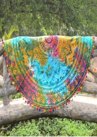 Mandala Tie Dye Printed Round Blanket
