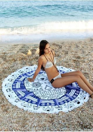 Skull Flower Printed Round Beach Blanket
