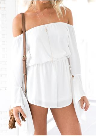 Solid Slash Neck Chiffon Romper Without Necklace