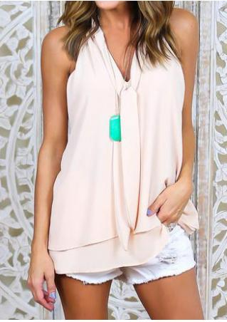Solid Layered Chiffon Fashion Tank Without Necklace