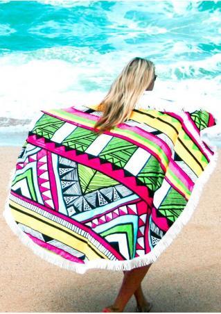 Multicolor Geometric Round Beach Blanket