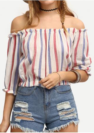 Striped Slash Neck Crop Top Without Necklace